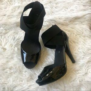 BCBG Monroe Black Patent Elastic Heels size 10